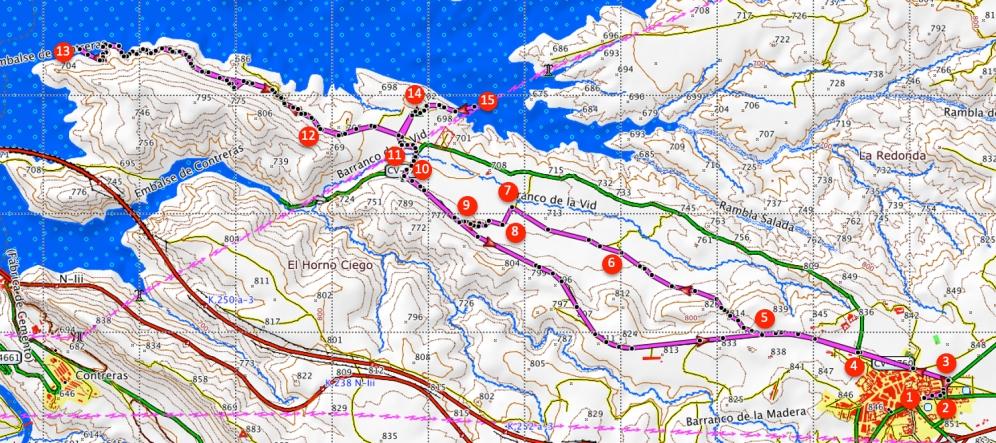 Route Stuwmeer van Contreras