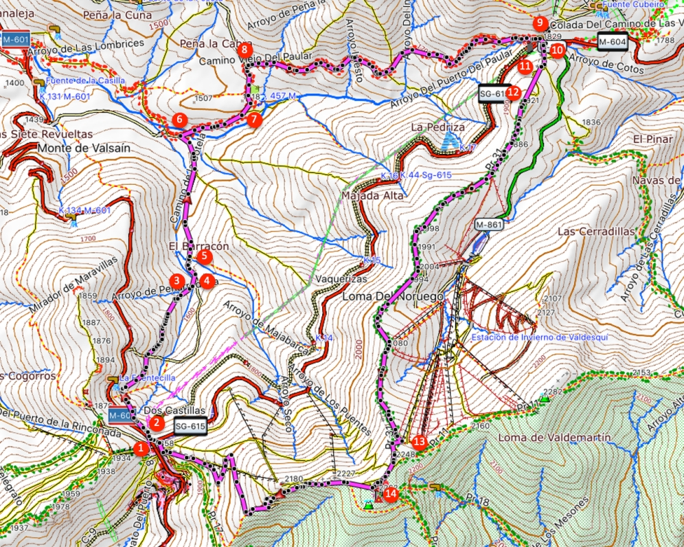 Route Bola del Mundo via Puerto de los Cotos