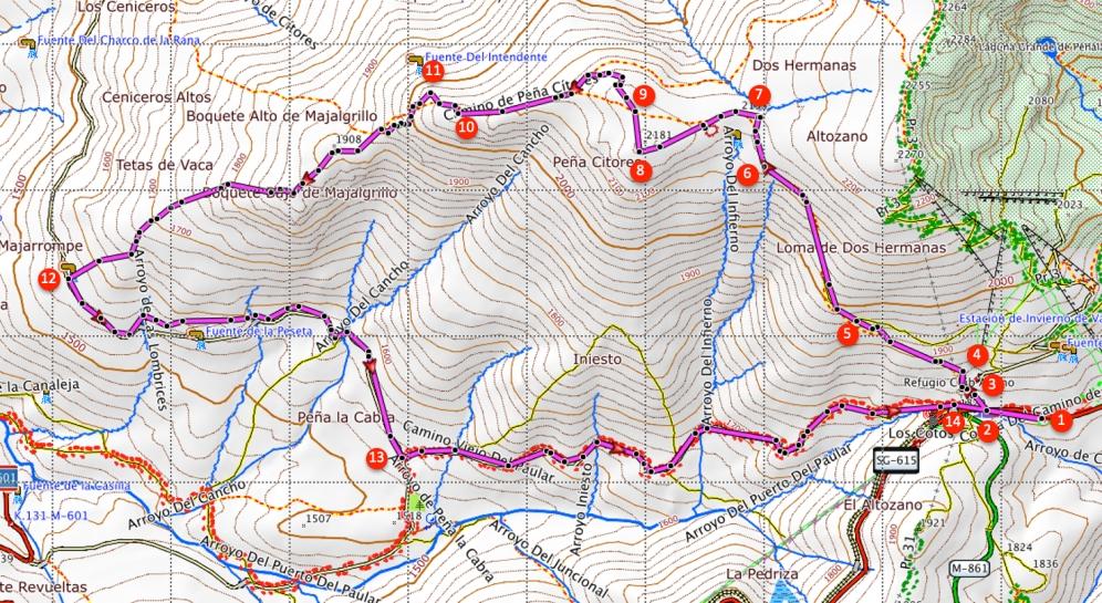 Route Peña Citores