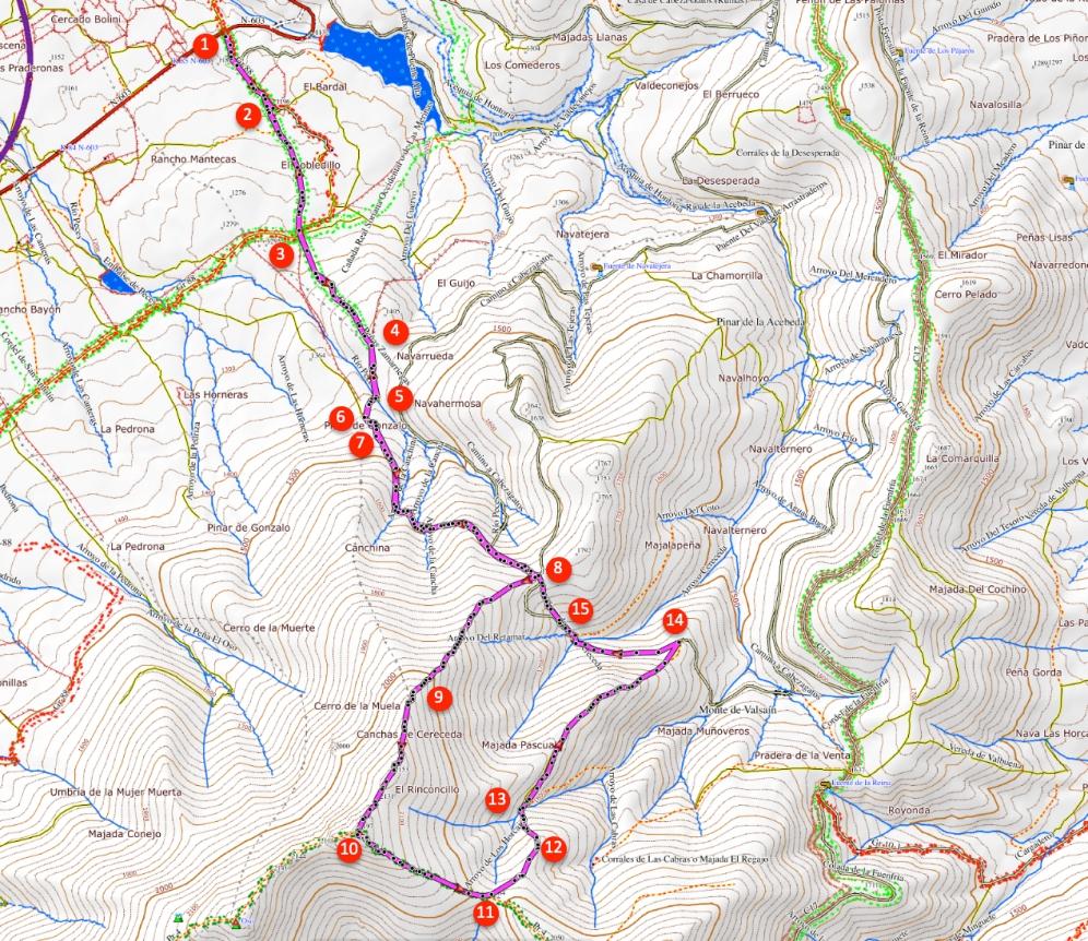 Route La Pinareja van Mujer Muerta
