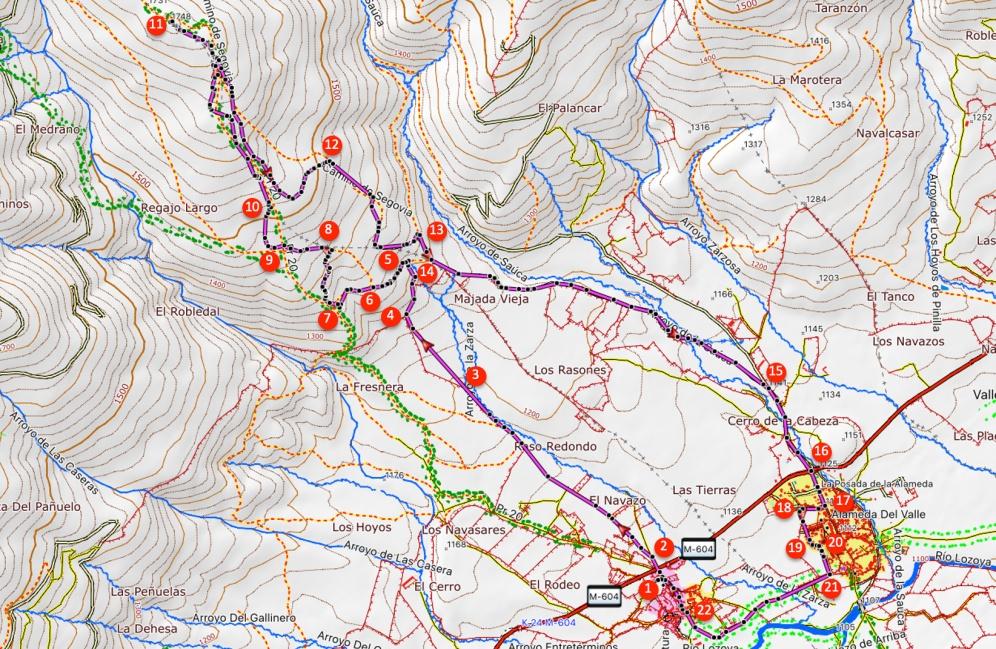 Route Loma de Peñas Crecientes