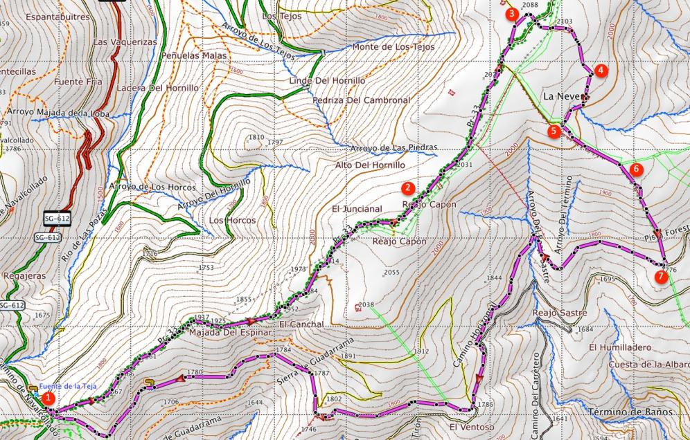 Route Reajo Alto en Reajo Bajo