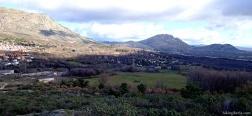 Aussicht auf Bustarviejo und die Sierra de la Cabrera