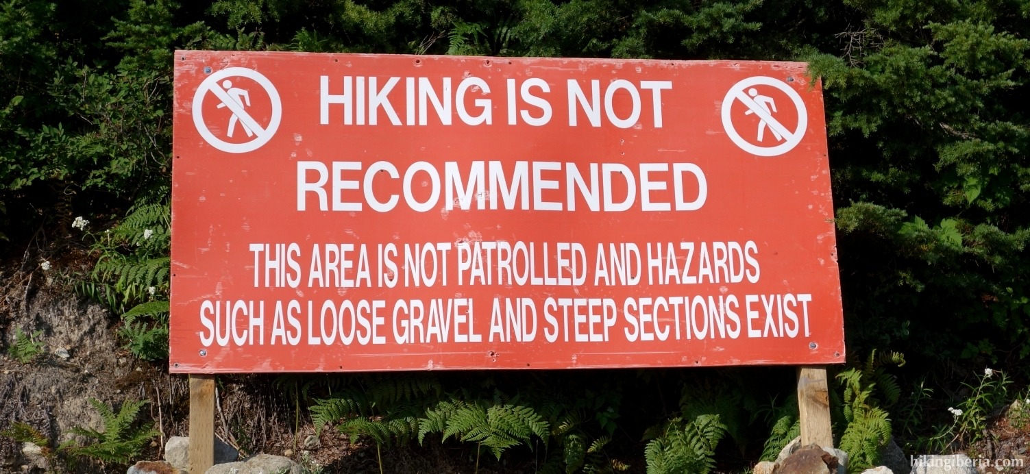 Sign on the trail to the Grouse Mountain Top