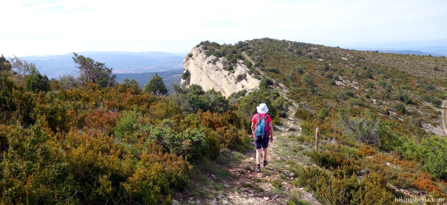 Afdaling vanaf de Montsec